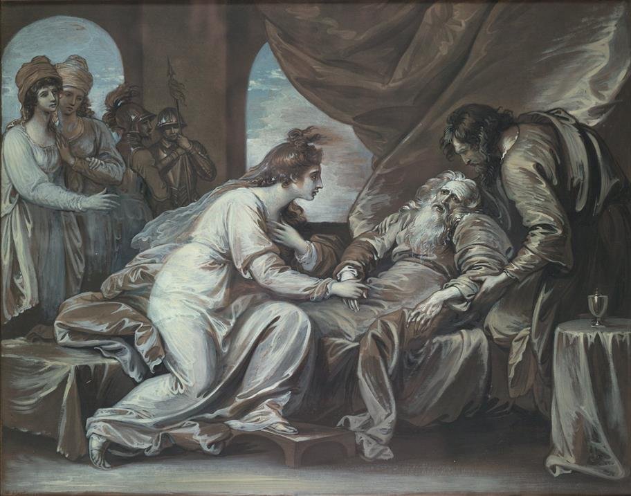 Mezzotint_with_watercolour_and_gouache_of_King_Lear_Act_4_Scene_7_depicting_the_reunion_of_Cordelia_and_the_ailing_Lear._Benjamin_West_64851