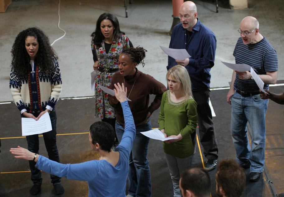 Voice rehearsals for the company in 2008