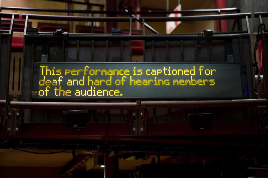 A caption board in the theatre, with text