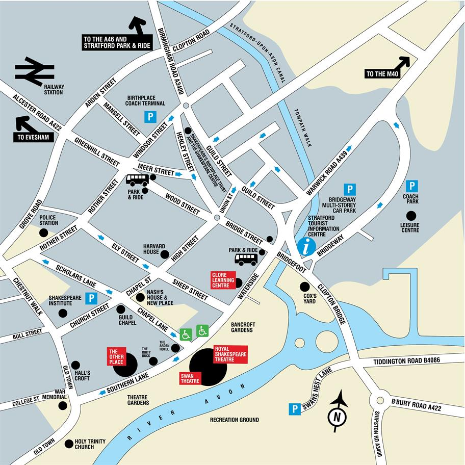 Map of Stratford highlighting Blue Badge parking spaces