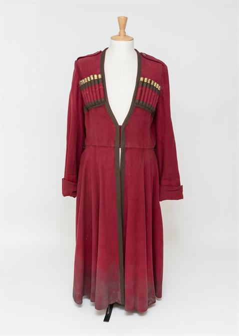 A dark red gown with brown trim