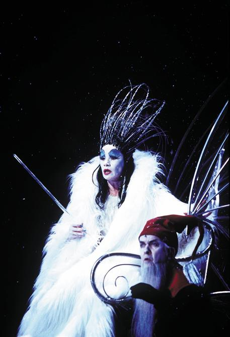 The Witch in white fur and spiked headdress.