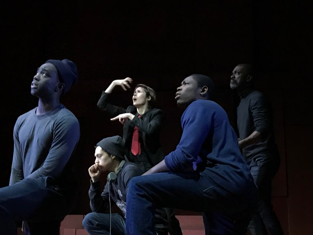 Becky Barry on stage with the cast of Hamlet