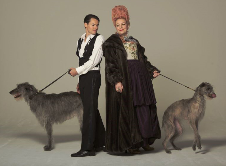 Tam Williams and Sophie Stanton in costume with Lossie and Theia.