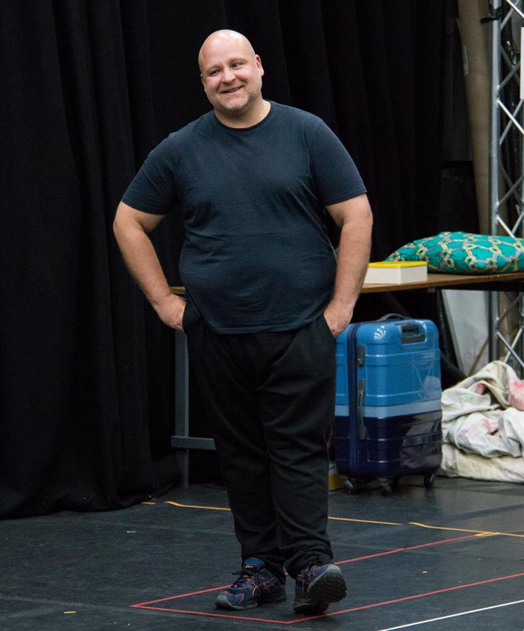 Byron Mondahl in rehearsal for Hamlet.