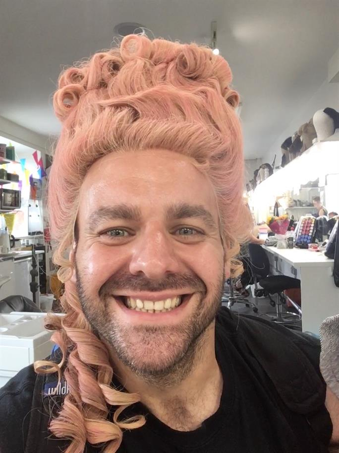 Graeme Brookes in a wig from Mrs Rich.
