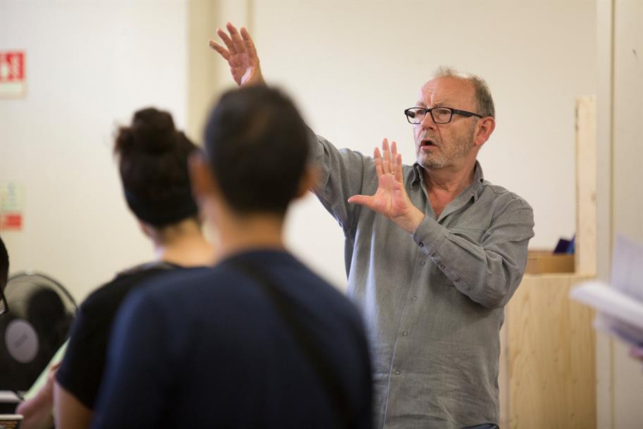 Director Michael Boyd gives instruction during rehearsals for Tamburlaine.