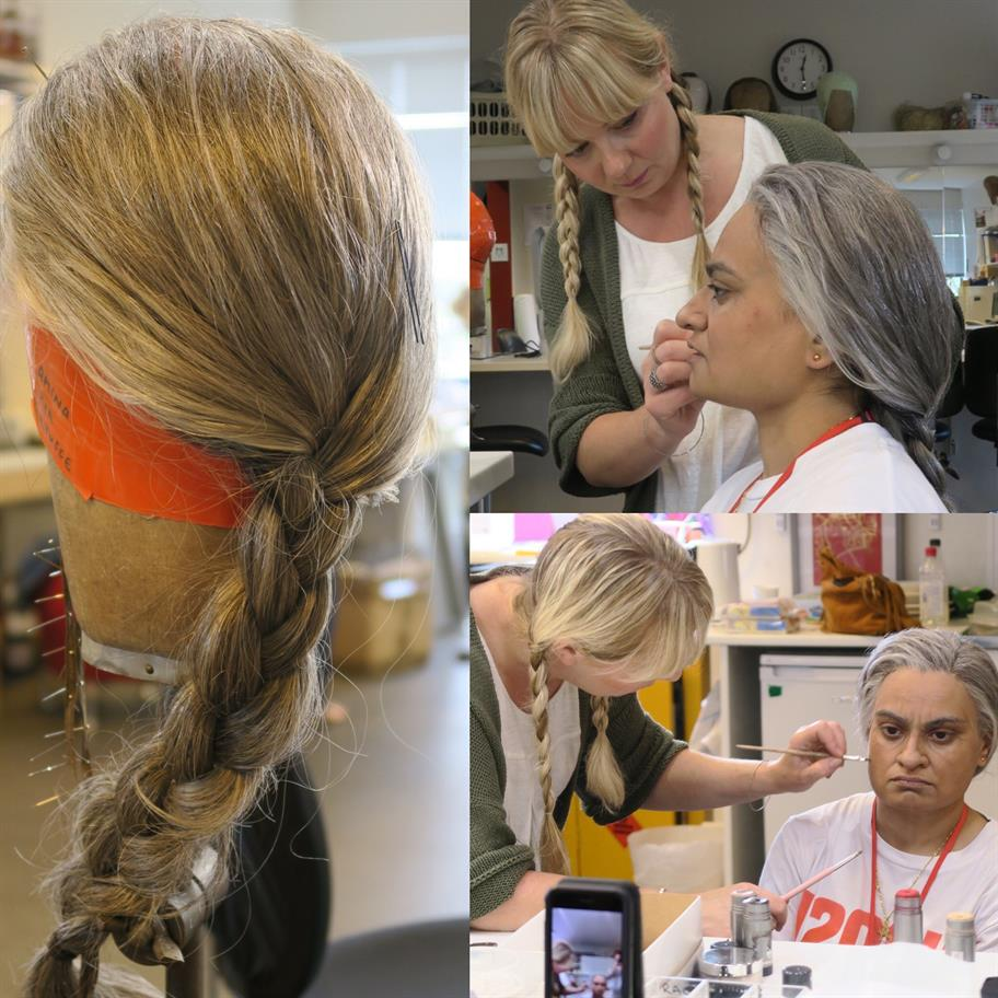 Three picture showing the wig and Amina wearing the wig as it is painted