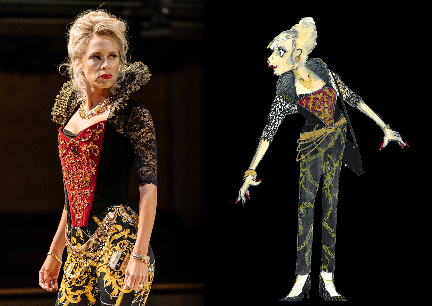 Actor Beth Cordingly in an ornate corseted costume with leggings and a high collar next to a drawing of her costume