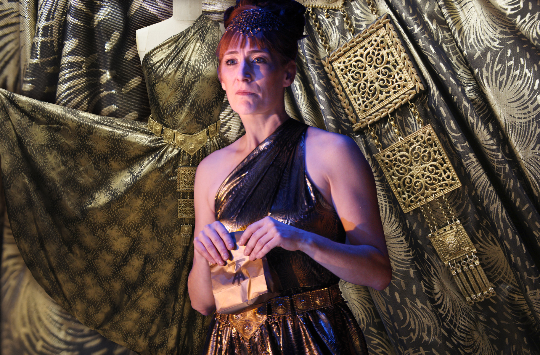 Actor wearing a gold dress and holding a small bag in front oher - behind is close up of the dress fabric and detailed metal belt