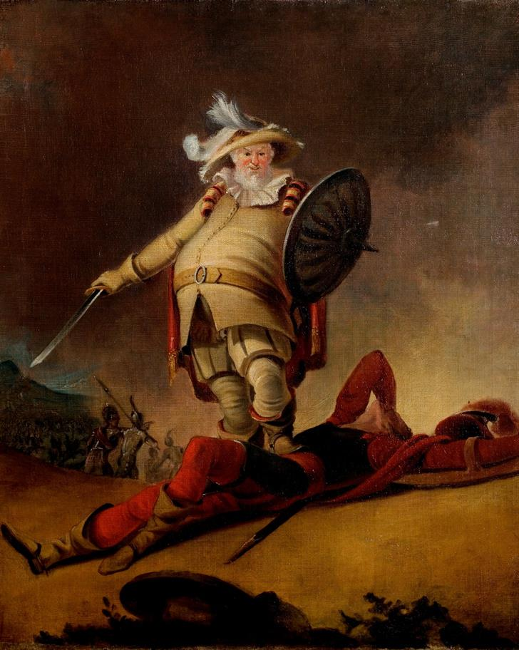 Oil on canvas painting of Falstaff and the Dead Body of Hotspur