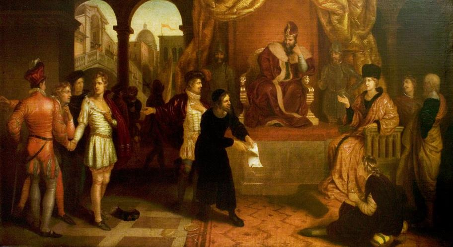 An oil painting of the trial scene featuring Antonio, Shylock and Portia.