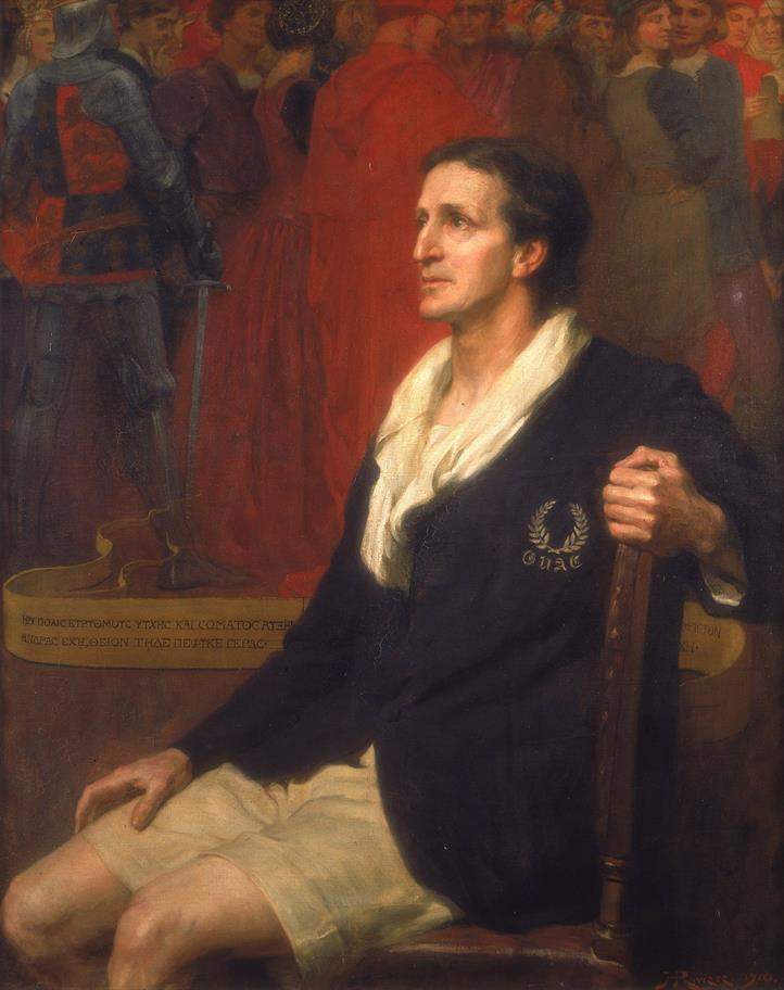 Painting of sir Frank Benson in a navy blazer and white shorts, seated in a chair