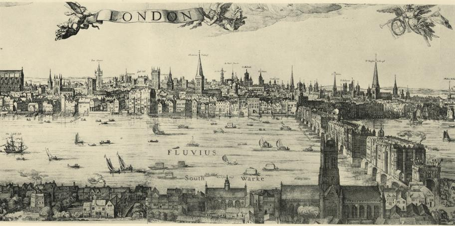 A black and white map of London showing the buildings around the Thames in 1616