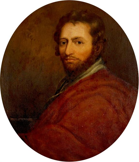 Portrait of Ben Jonson by English School c.1750 oil on canvas digitised by Public Catalogue Foundation (PCF) initiative