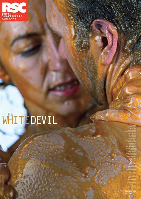 Poster for The White Devil 2014 with a man and woman dripping with gold paint