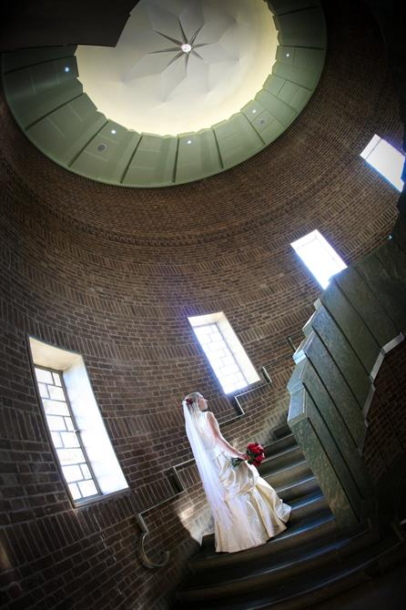 Bride on the marble staircase at the Royal Shakespeare Company
