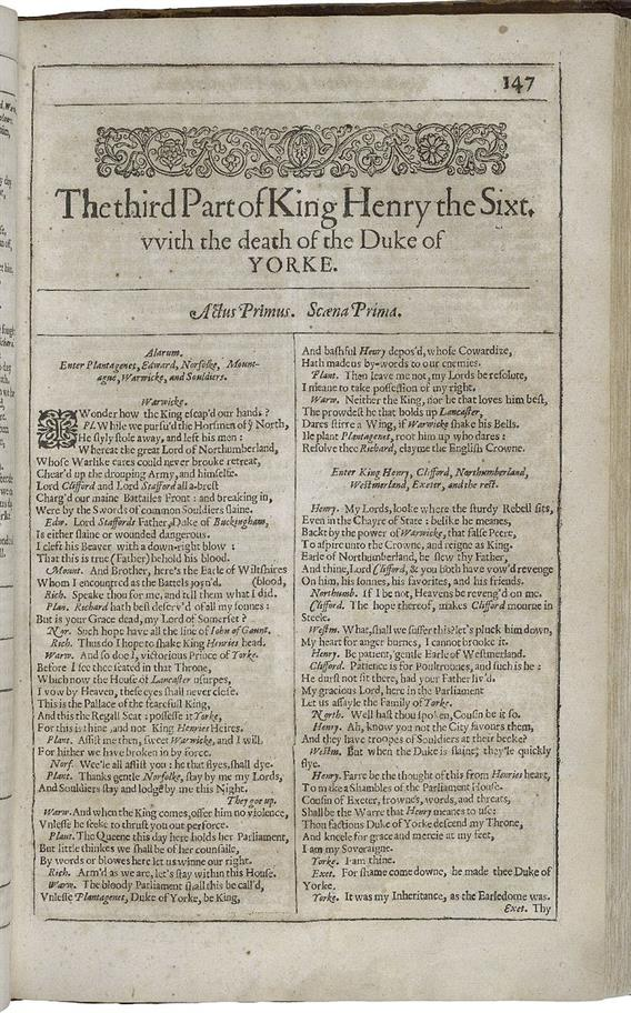 The first page of Henry VI Part III in the First Folio