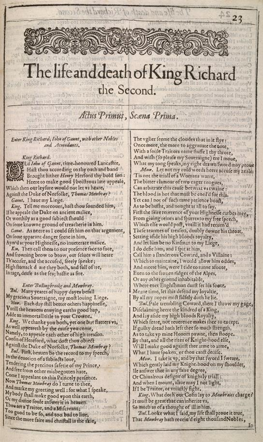 Shakespeare's Richard the Second, First Folio, 1623