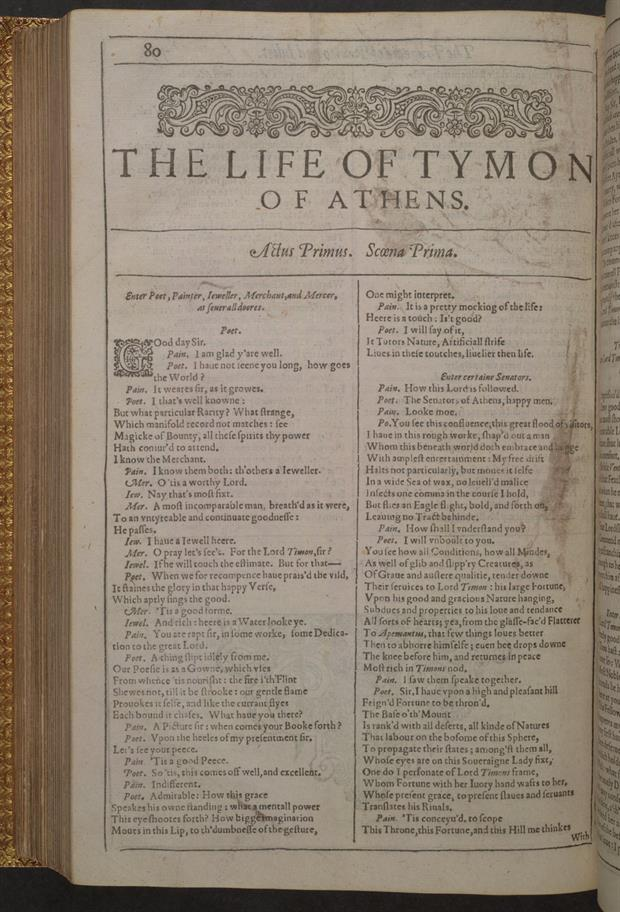 1623 Folio page from Timon of Athens