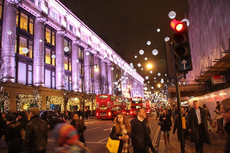 Christmas shoppers outside Selfridges in London.