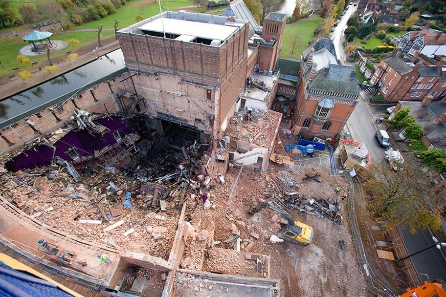 An aerial view of the demolition of the auditorium