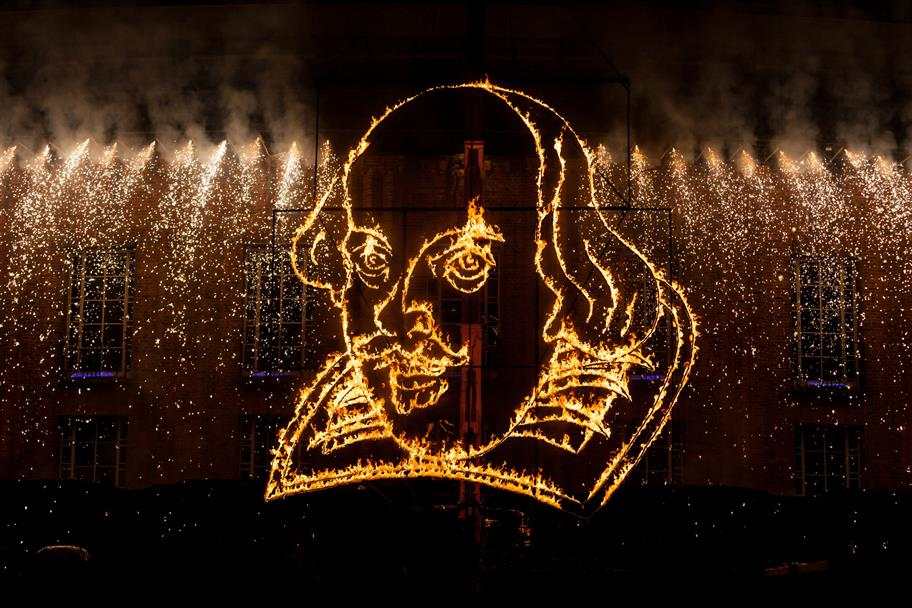 A line of golden fireworks and a line portrait of Shakespeare's head made of flames