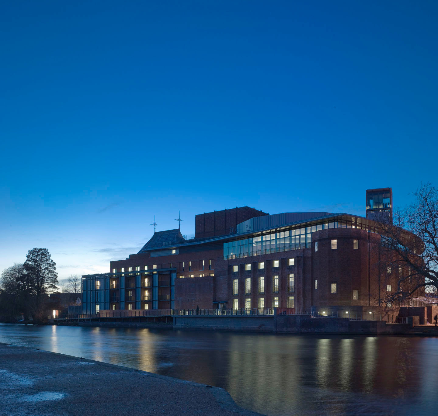 The Royal Shakespeare Theatre exterior in the evening
