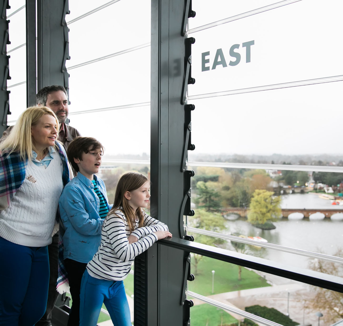 A family enjoying the views from the Tower