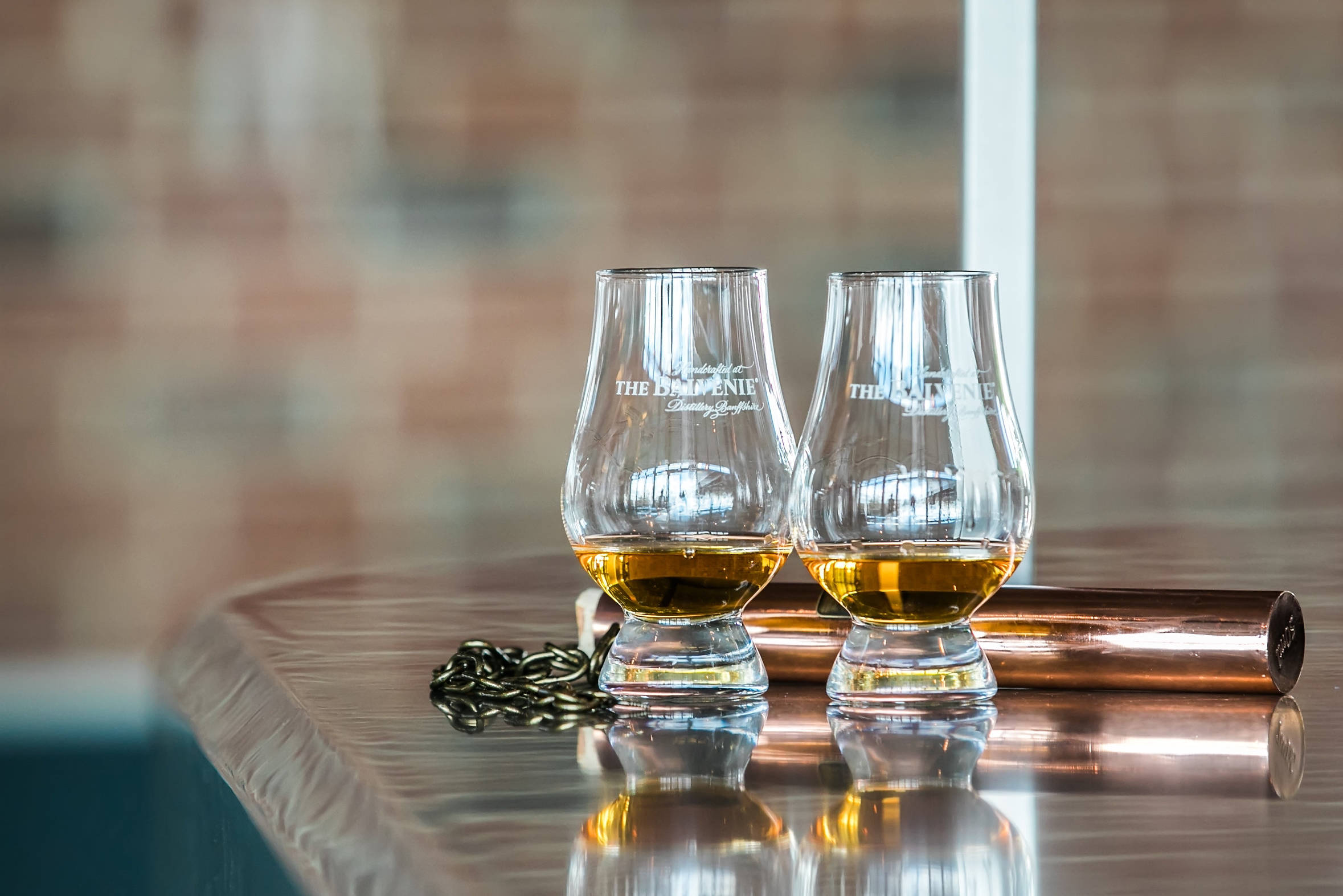 Two glasses of whiskey in the Rooftop Restaurant bar.