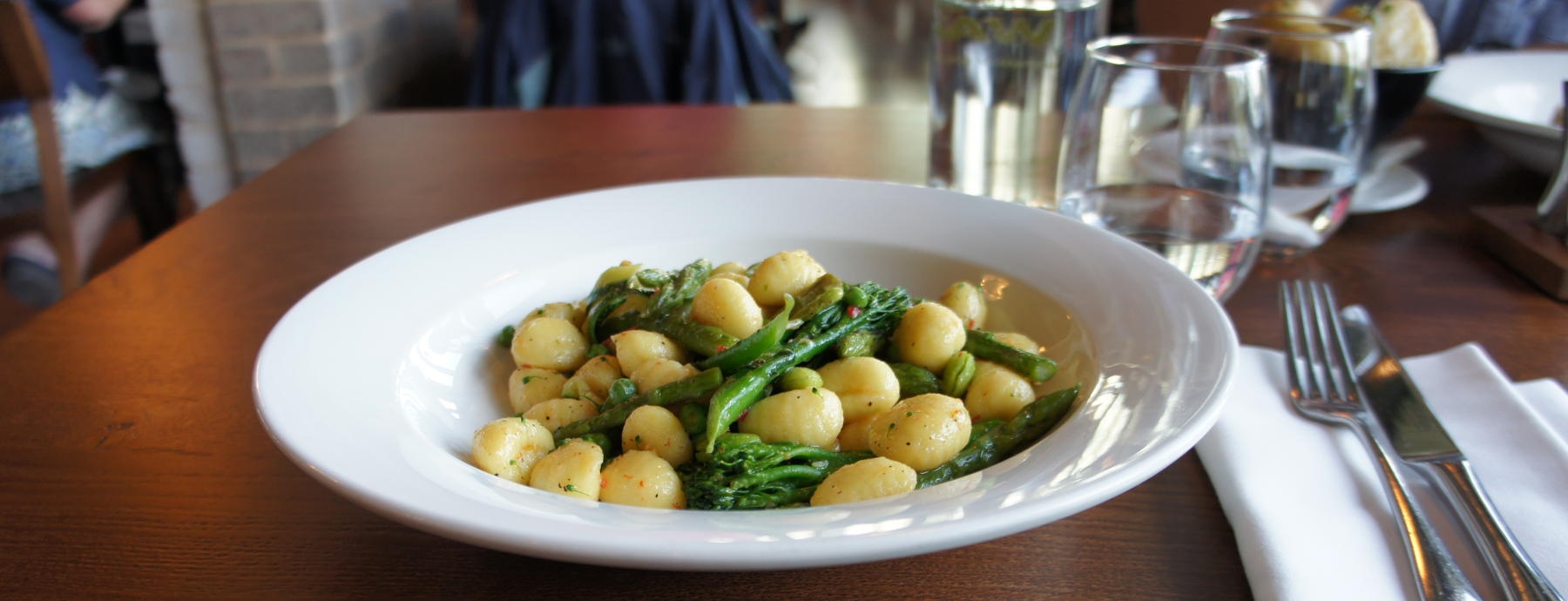 Gnocchi with peas, part of the vegan pre-theatre menu
