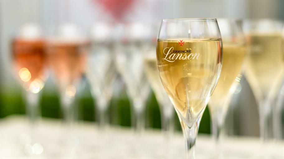 Line of glasses of Lanson Champagne