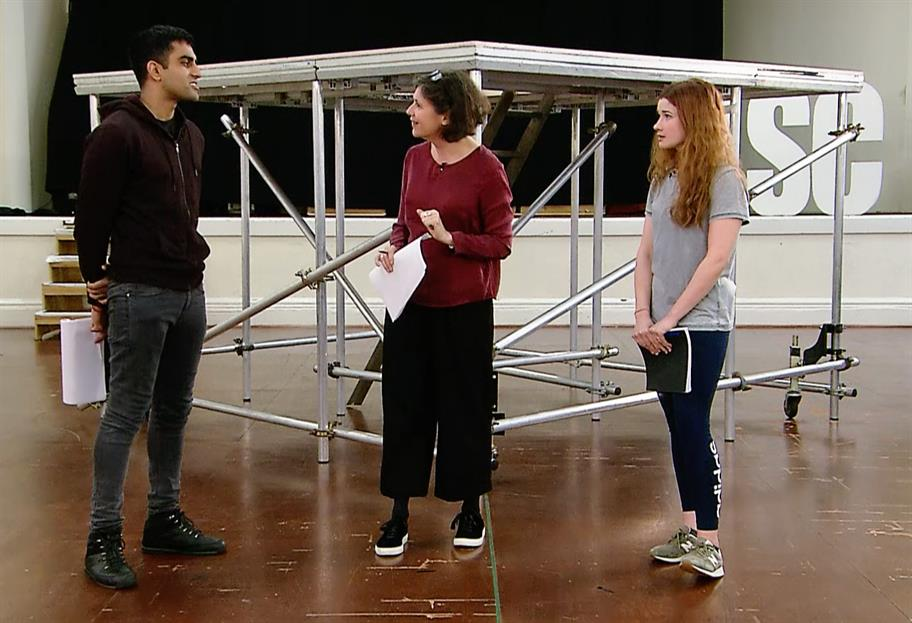 Bally Gill, Erica Whyman and Karen Fishwick standing in a rehearsal room holding scripts