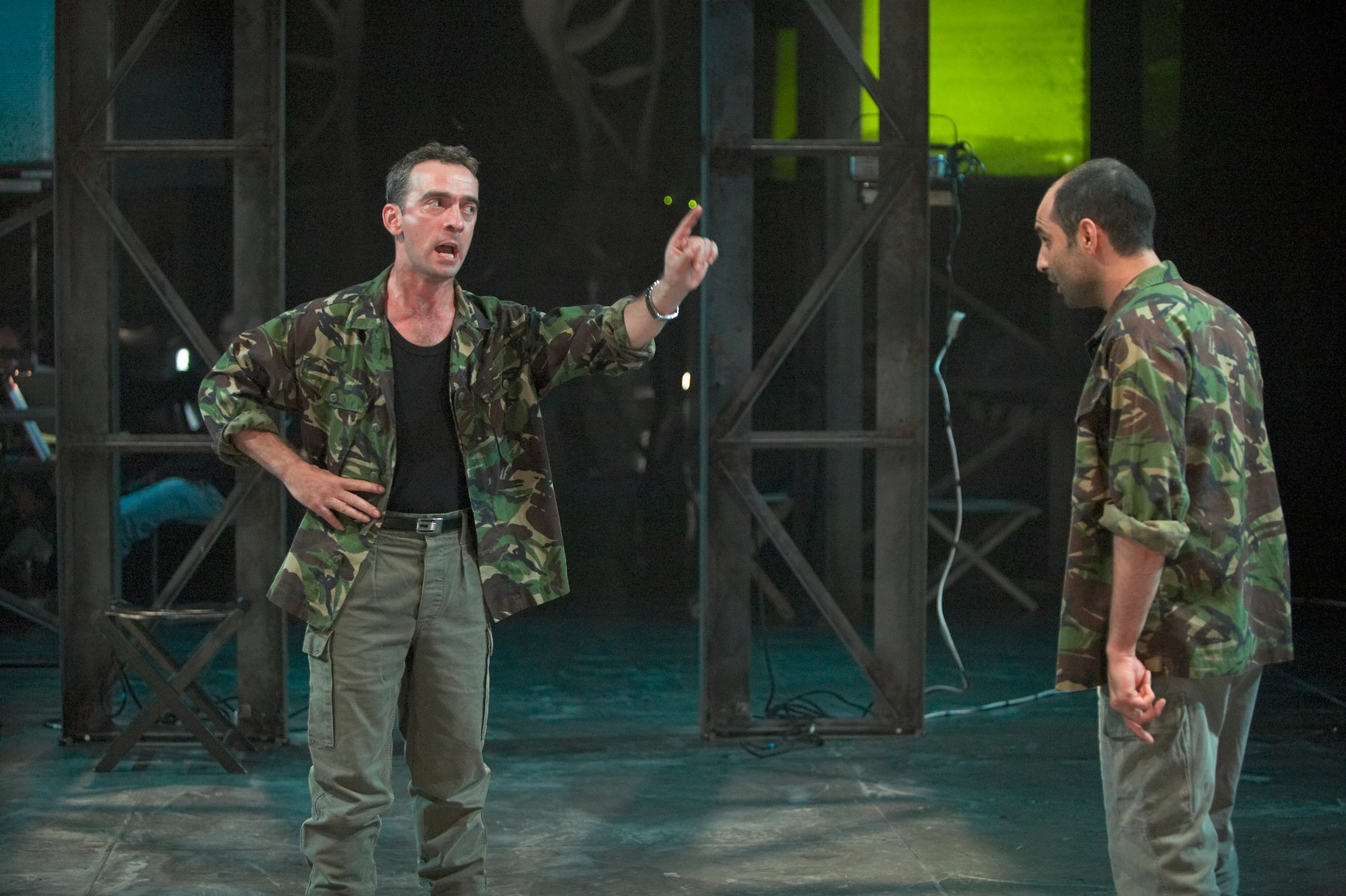 Cassius and Brutus confront each other before the war in the 2004 production of Julius Caesar.