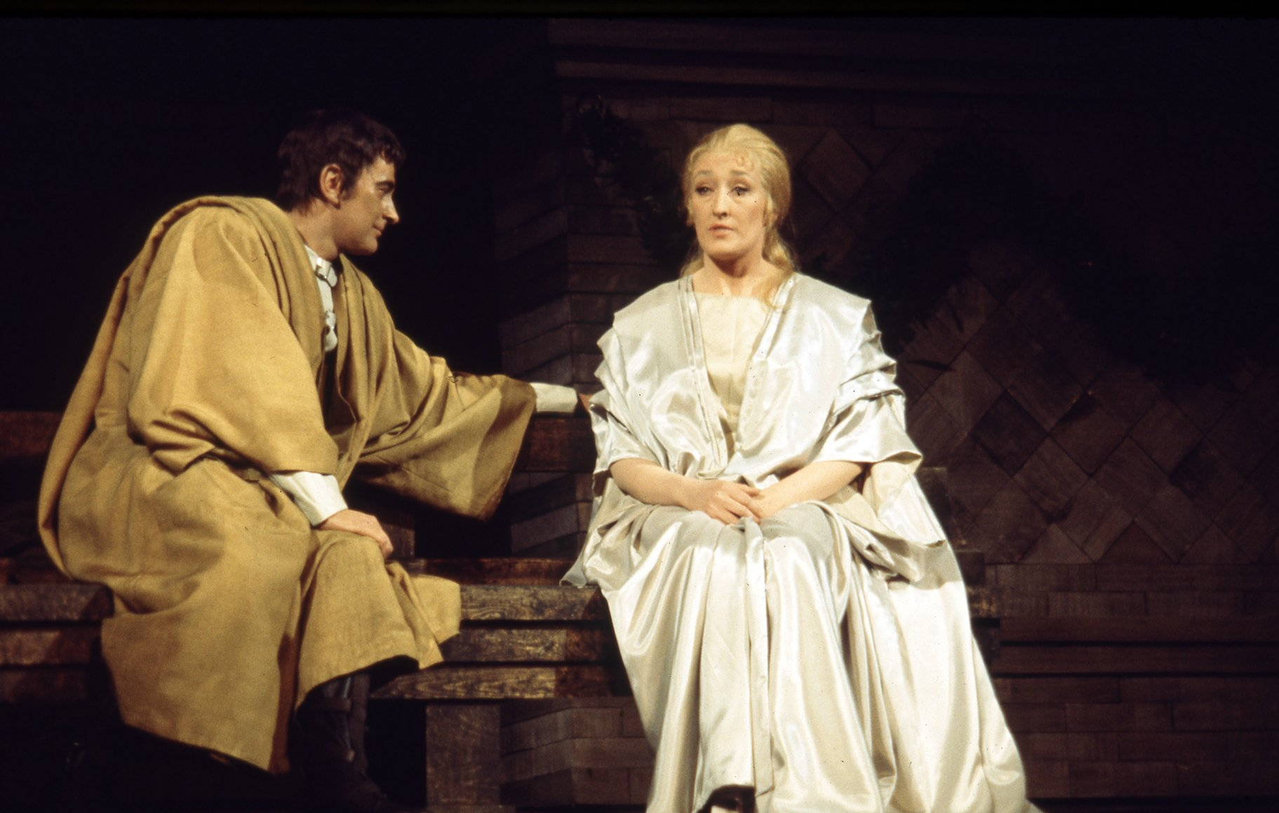 Portia sits and Brutus reaches out to her in the 1968 production of Julius Caesar.