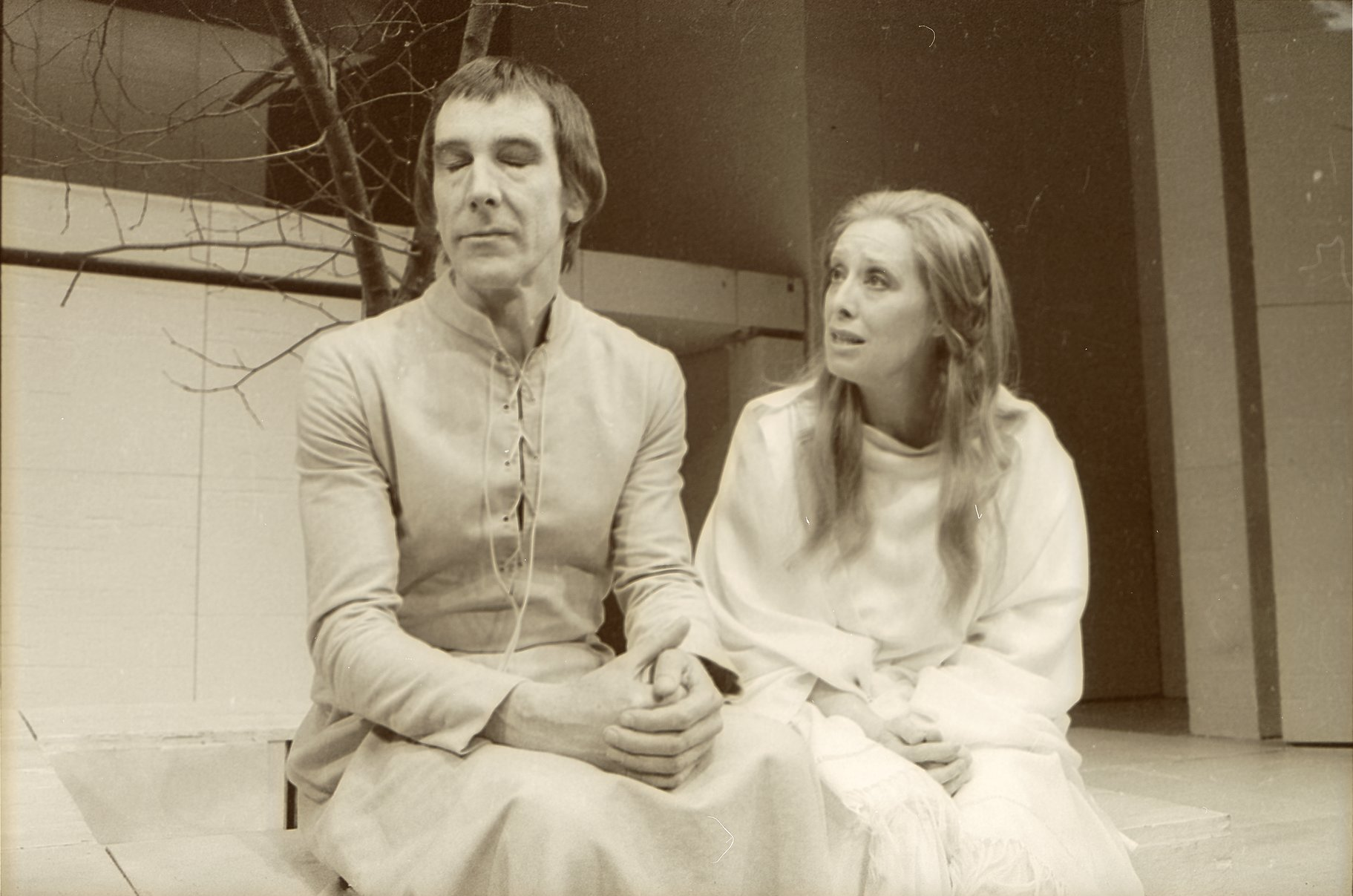 Brutus looks away as Portia pleads with him in the 1972 production of Julius Caesar.
