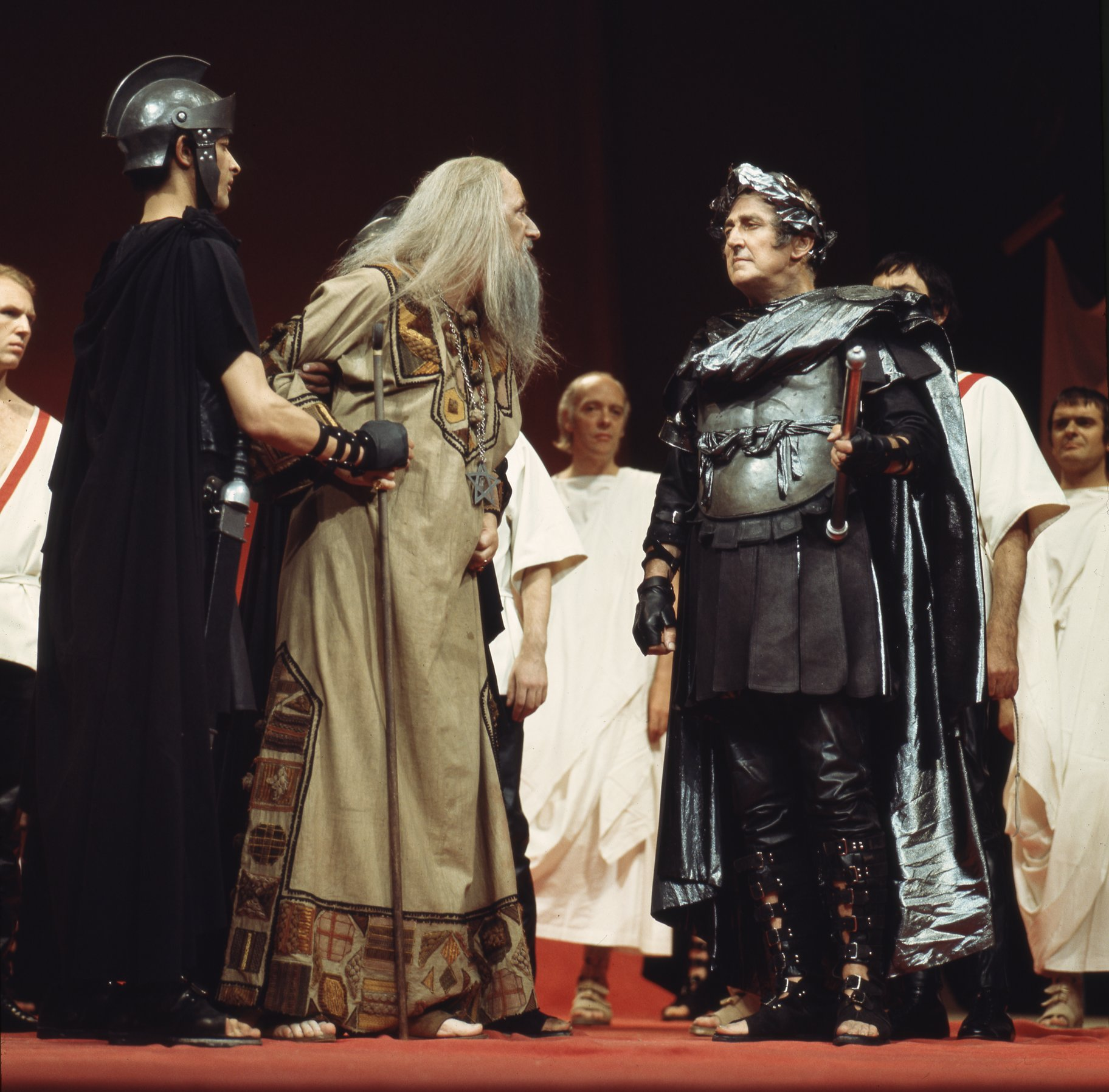 The Soothsayer warns Julius Caesar, the Soothsayer is being restrained by a guard