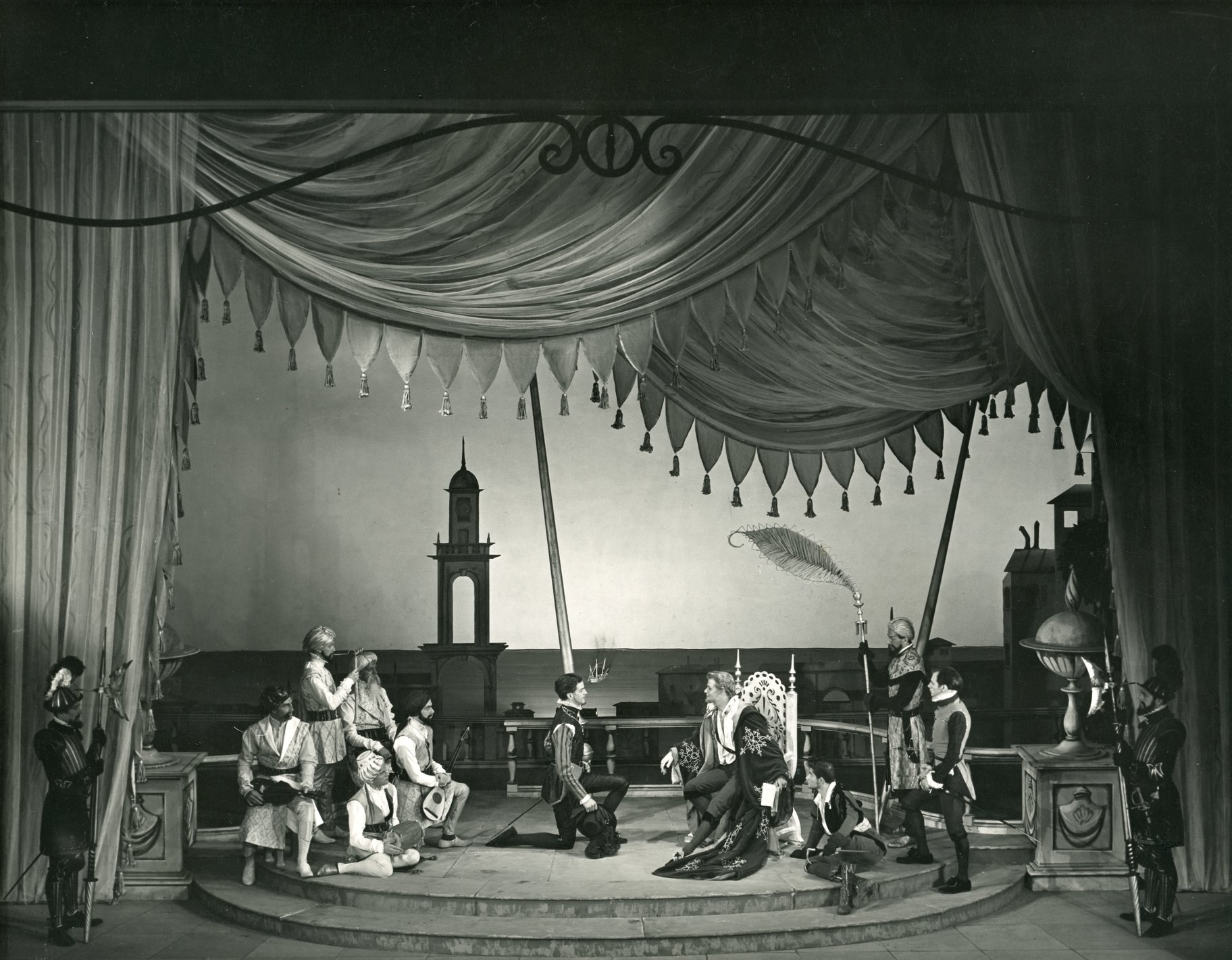 Orsino at his court in the 1955 production of Twelfth Night.