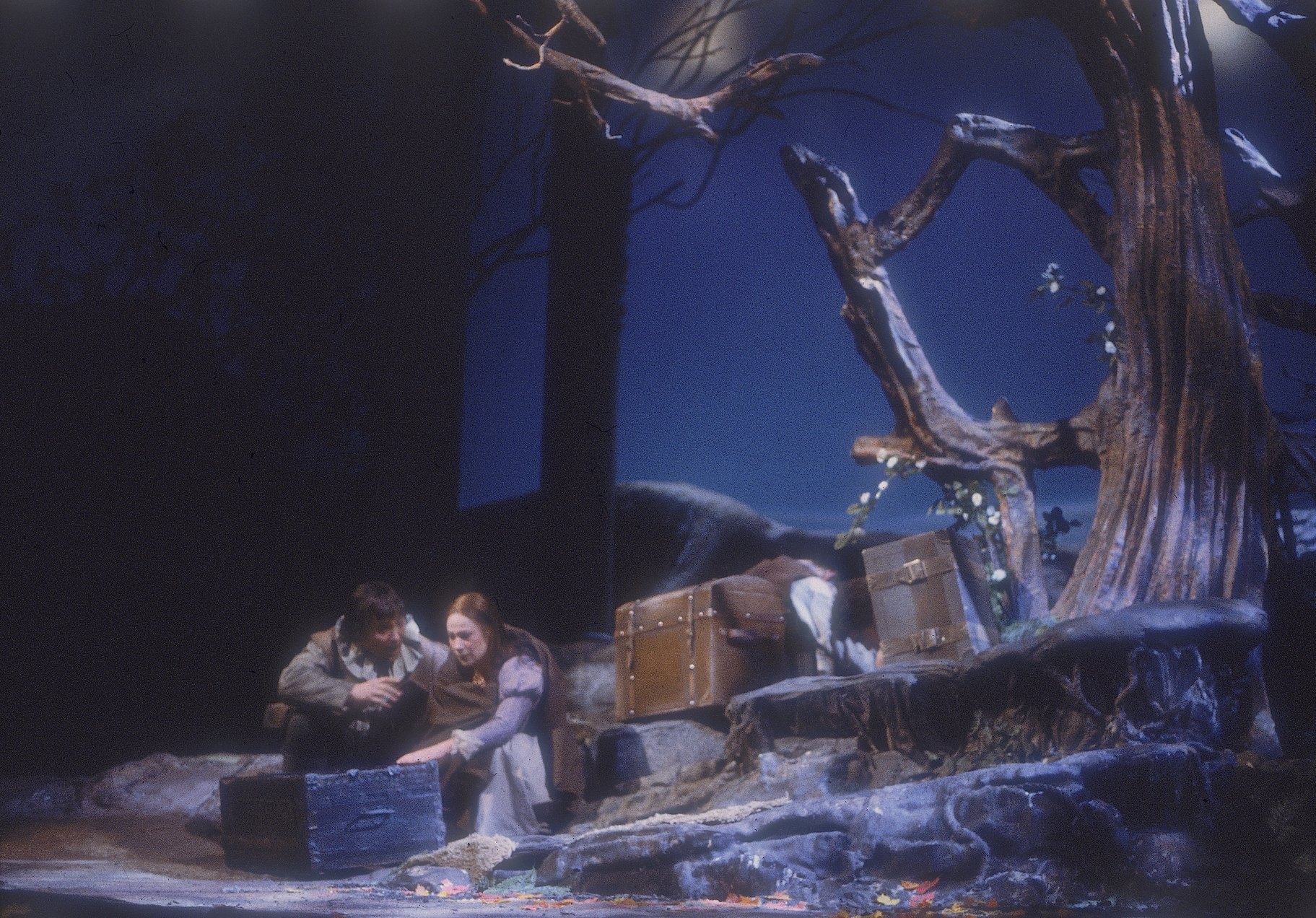 Viola and the captain sit with a number of washed up chests  on the shore of Illyria beside a large tree and scattered belongings in the 1983 production of Twelfth Night.
