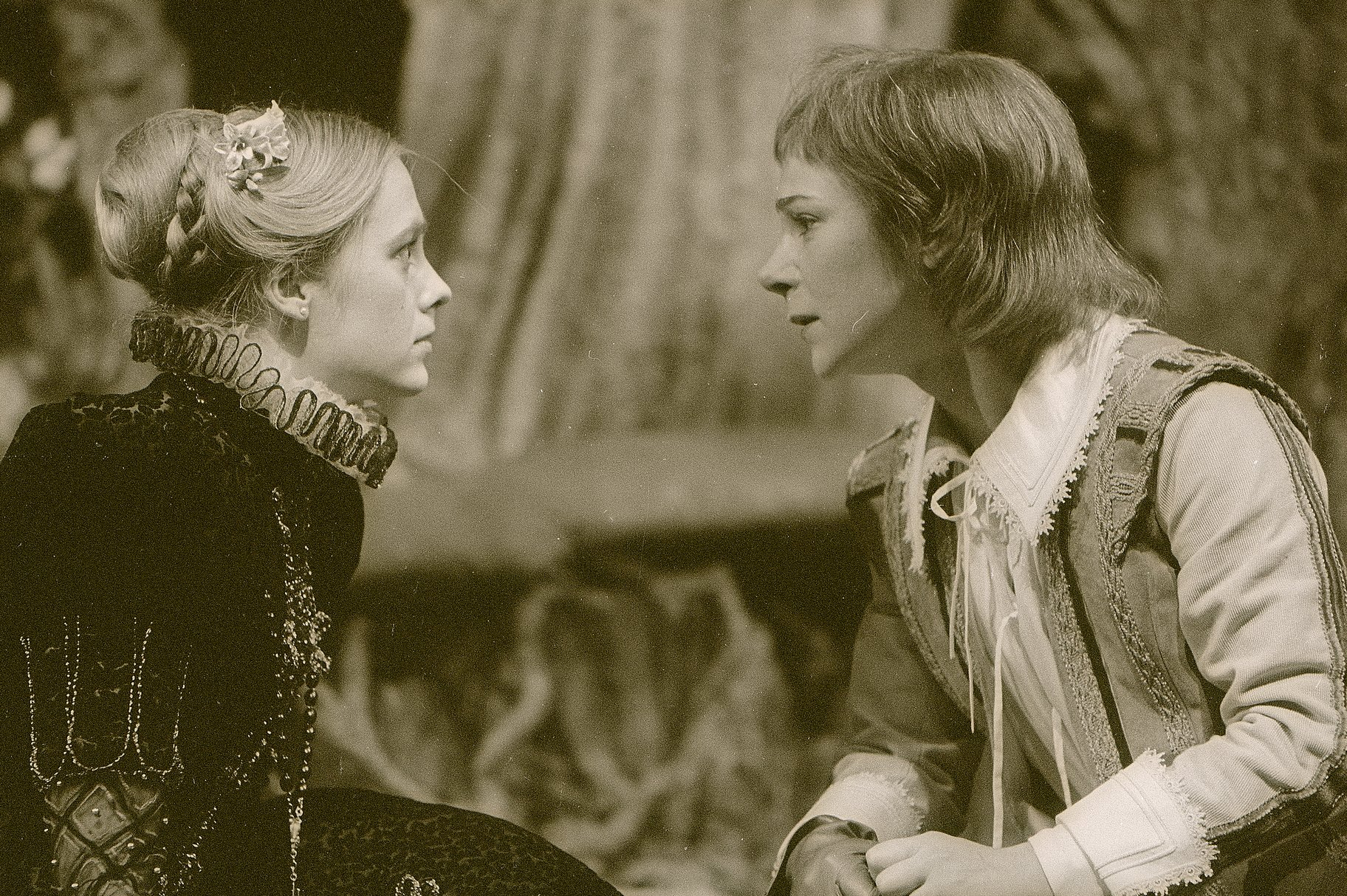 Olivia stares earnestly at 'Cesario' in the 1983 production of Twelfth Night.