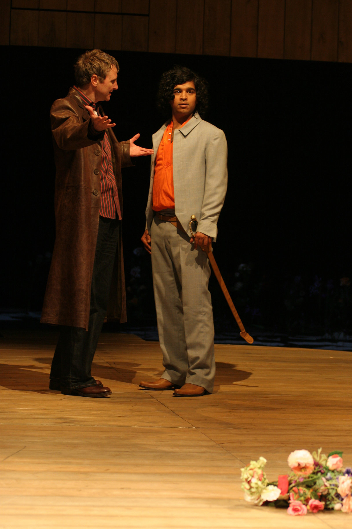 Sebastian and Antonio stand together in the 2005 production of Twelfth Night.