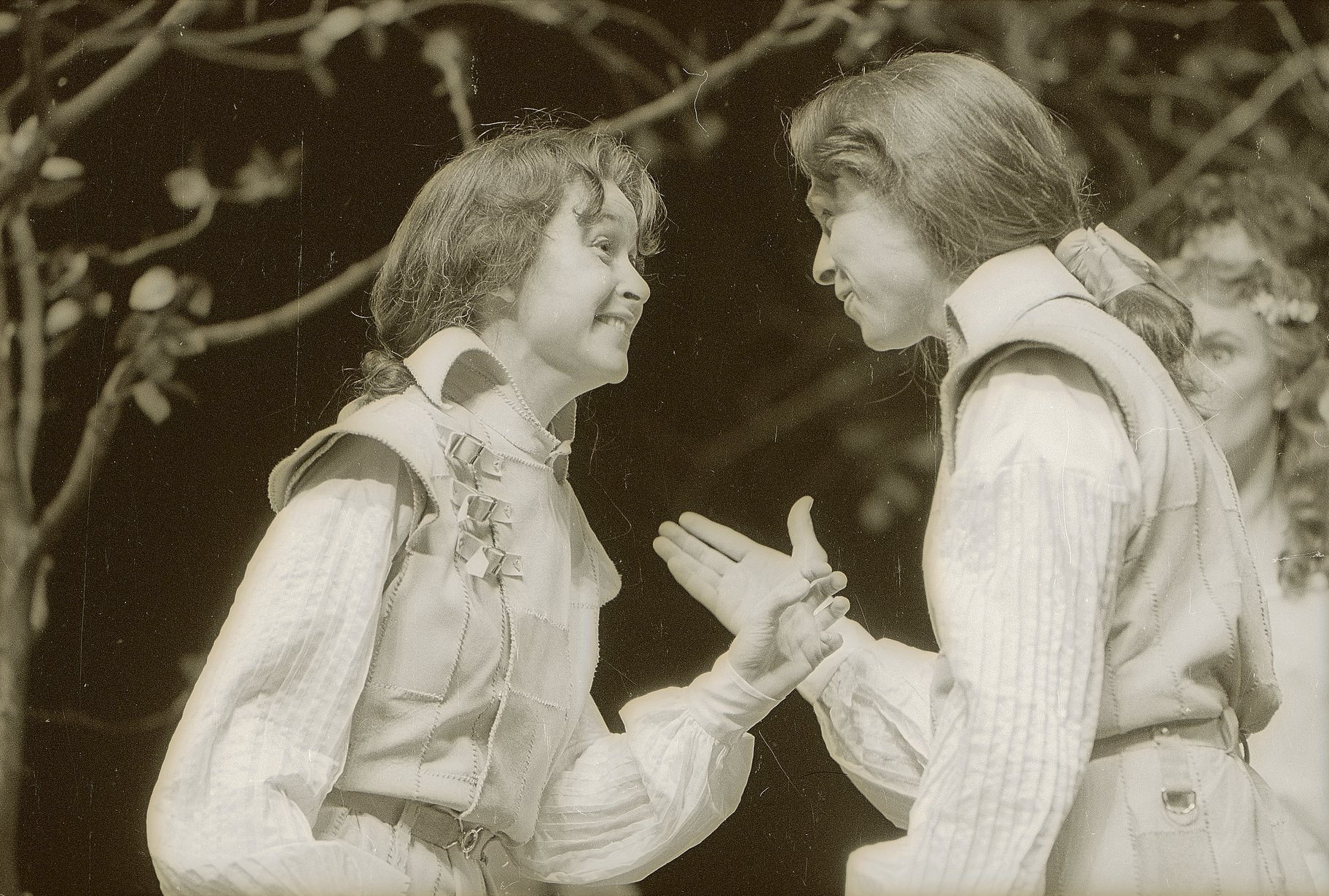 Viola and Sebastian stand face to face amazed at each other in the 1979 production of Twelfth Night.