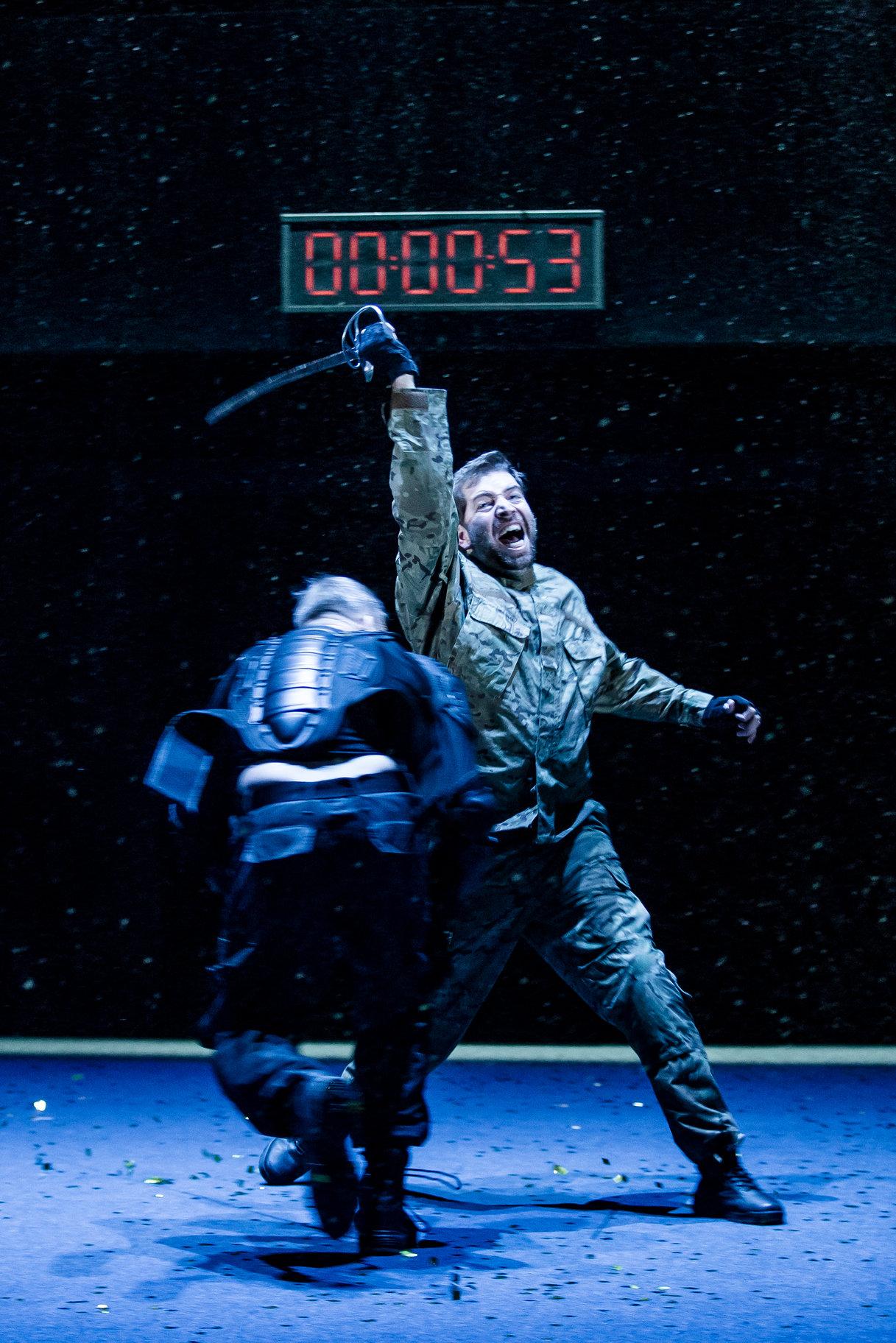 Macduff kills Macbeth.