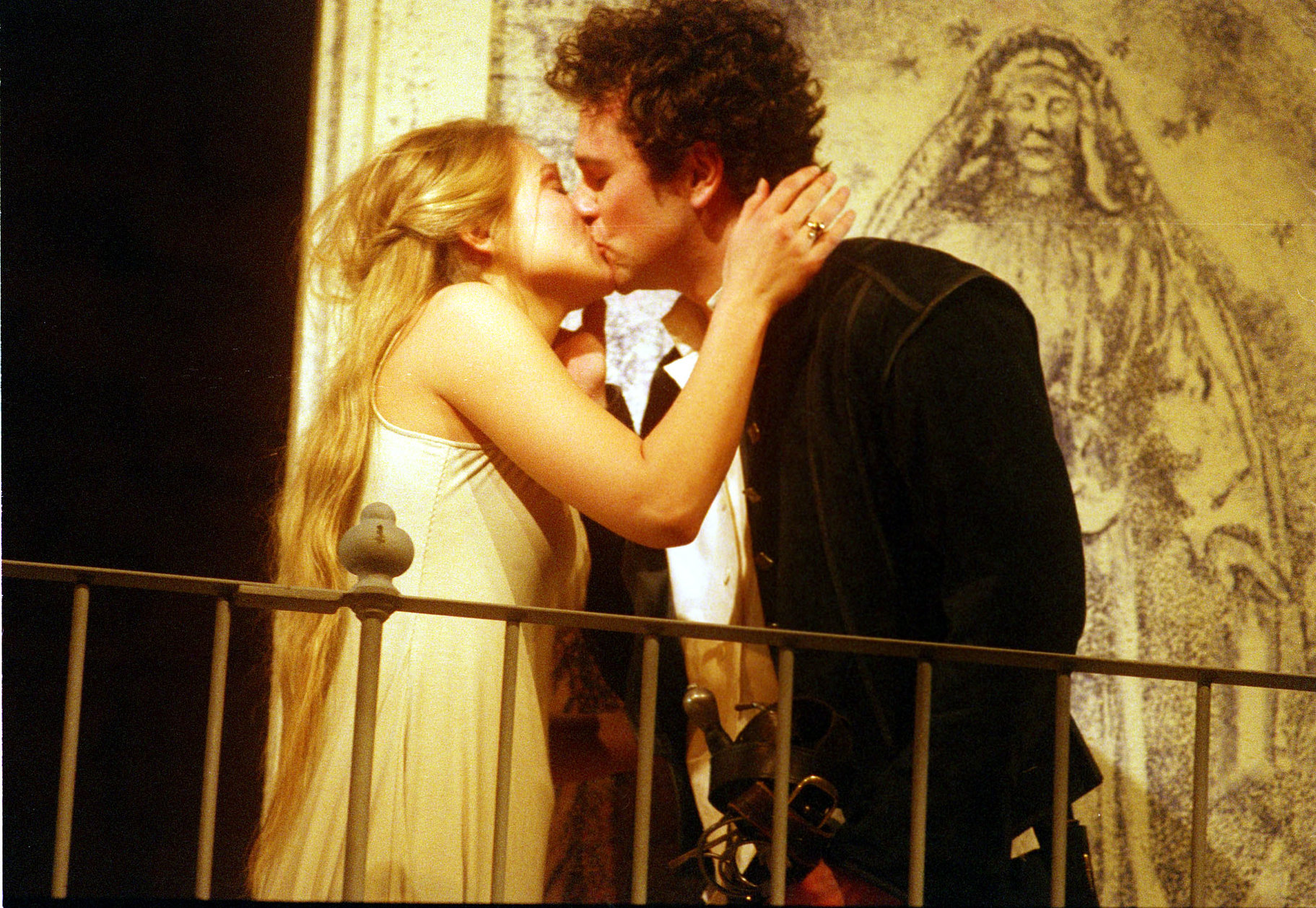 Romeo and Juliet on the balcony.