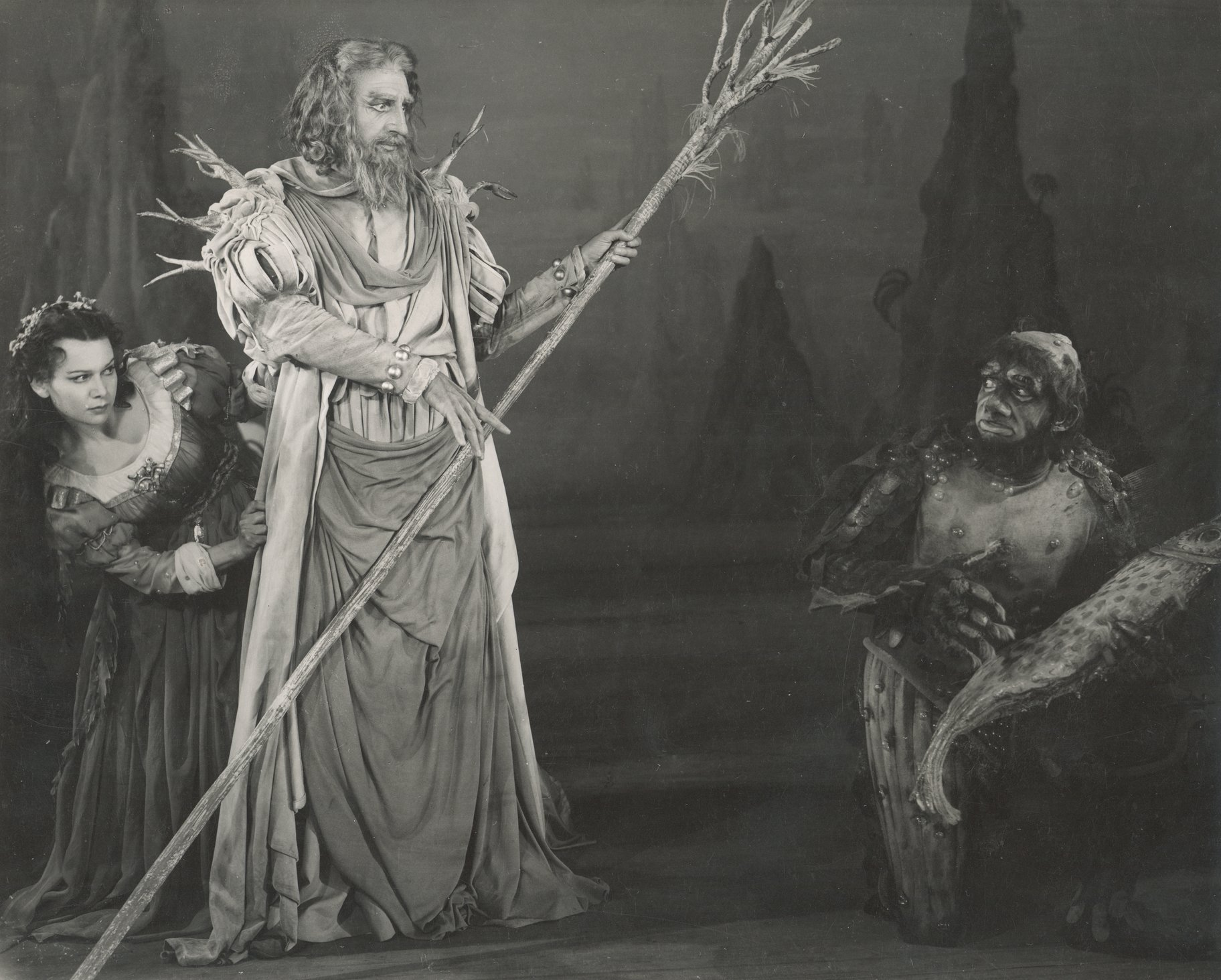 Miranda, Prospero and Caliban.