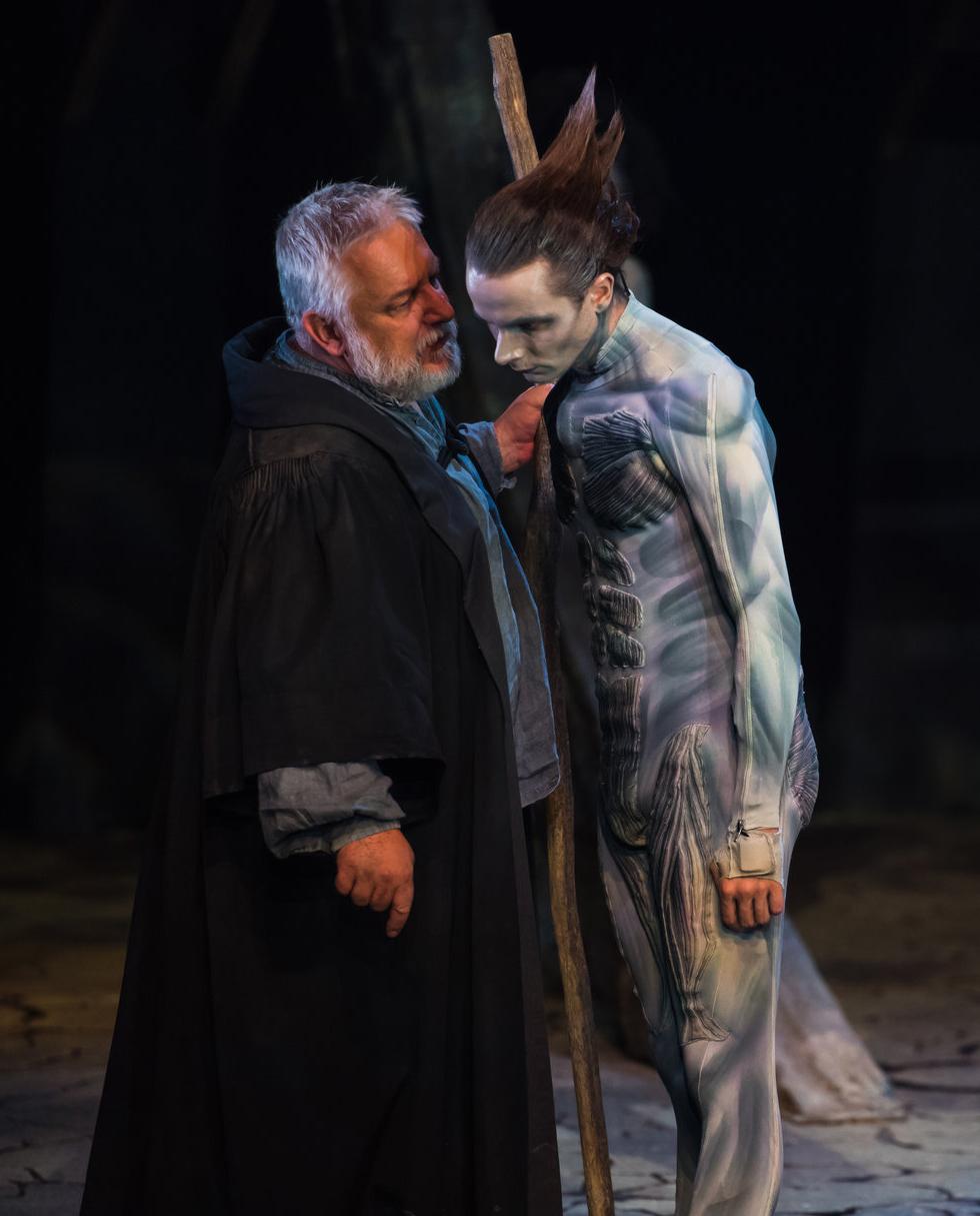 Prospero talks to Ariel.