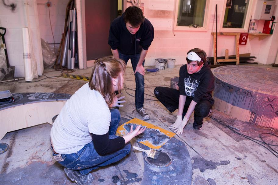 A student learns how set and prop designers work