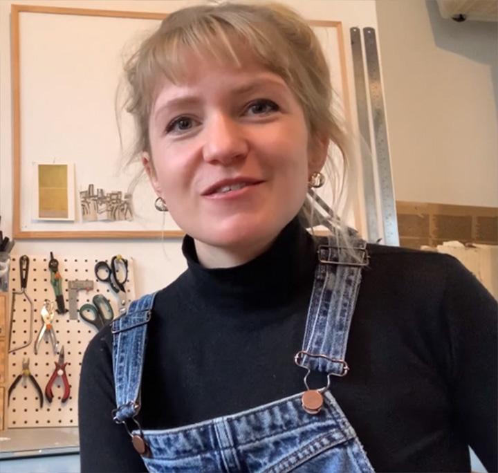 Designer Anisha Fields in her workshop.