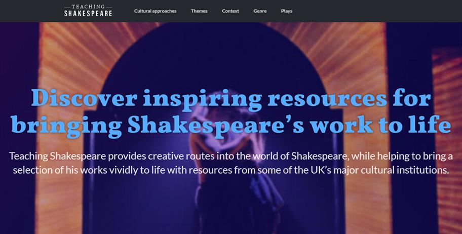 A screenshot of the Teaching Shakespeare page, explaining how the resources bring Shakespeare's work to life