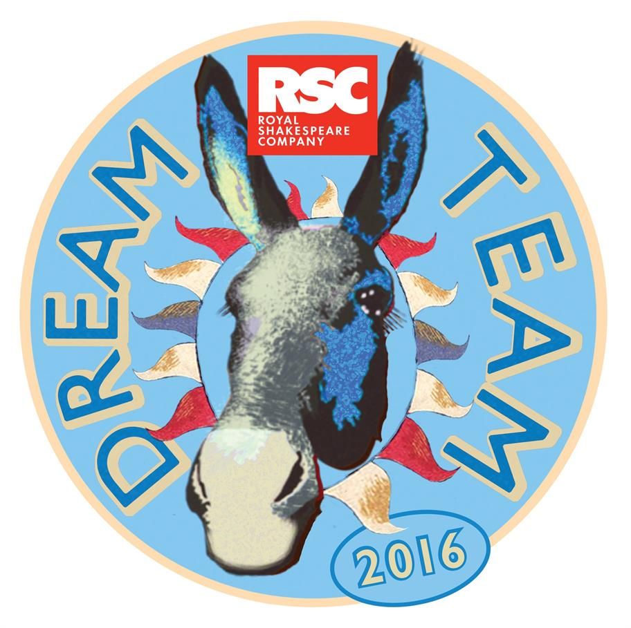 RSC Dream Team logo, showing a donkey's head on a blue circle, which is decorated with colourful flags